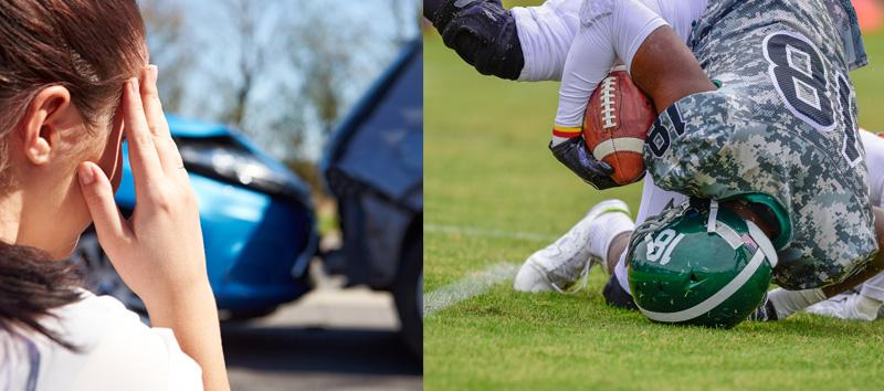 A photo of a person with head pain on one side and a football player falling down in the grass and hitting his head.